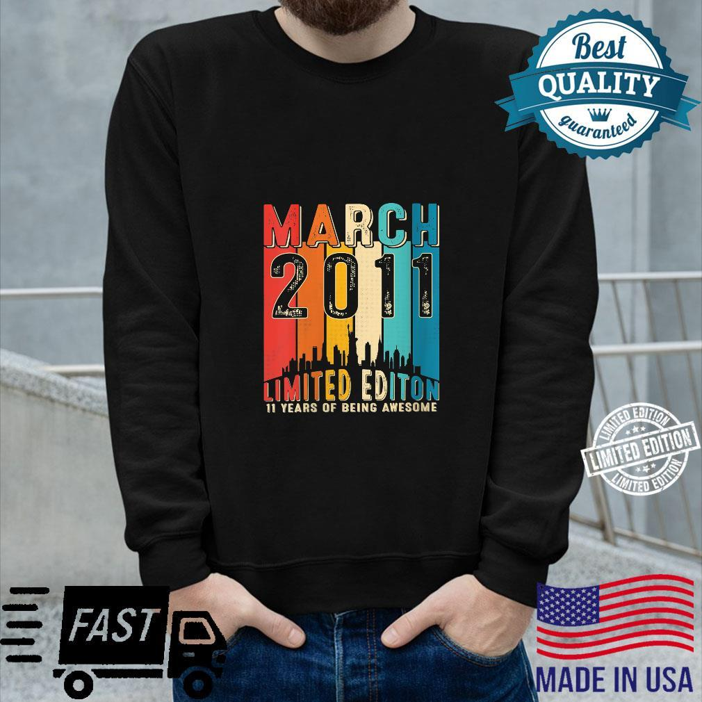 Vintage Born in March 2011 11th Birthday 11 Years Old Shirt long sleeved